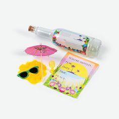 Tropical Invitations In A Bottle - OrientalTrading.com