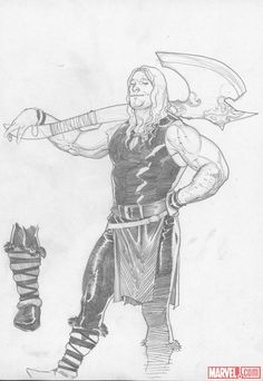 Young Thor pencil sketch by Esad Ribic    http://marvel.com/news/story/19846/thor_god_of_thunder_sketchbook_pt_1
