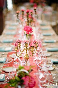 Wonderful peaches & blues #table setting