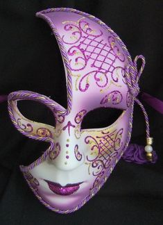This gorgeous half mask is a real eye catcher The base is made from formed resin which is shaped to the face and very flattering The style of this Purple Games, 32 Birthday, Half Mask, Full Face Mask, Beautiful Mask, Woman Face, I Tattoo, Halloween Face Makeup, Fancy