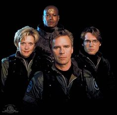 Stargate Amanda Tapping, Christopher Judge, Richard Dean Anderson, and Michael Shanks. Ally Mcbeal, Little Britain, Patrick Dempsey, Jeff Bridges, Katherine Heigl, Best Sci Fi Shows, Tv Shows, Jared Leto, Twin Peaks