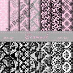 Damask Digital Paper Digital Scrapbooking Background Digital Downloads Digital Scrapbook Paper Pack Printable