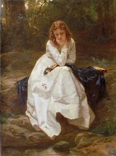vilden-art: Wilhelm Amberg, German, 1822-1899 — Young Woman Seated by a Stream