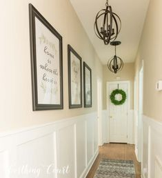 Long, dark hallway makeover before and after + 3 free prints Worthing Co . - Long, dark hallway makeover before and after + 3 free prints Worthing Cou … - Hallway Wall Decor, Hallway Walls, Hallway Ideas, Hallway Decorations, Wainscoting Hallway, Dark Hallway, Upstairs Hallway, Upstairs Landing, Home Renovation