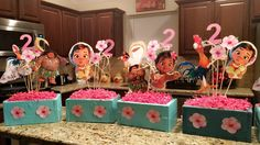 Moana centerpieces handmade by me for My little girls 2nd birthday