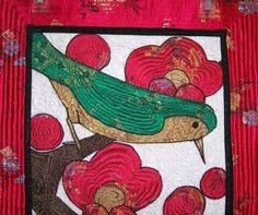 "Art Quilt. Bird on a Limb. Korean Art ""Uguisu"": ""which sits on the branch of a plum tree""2. $350.00, via Etsy."