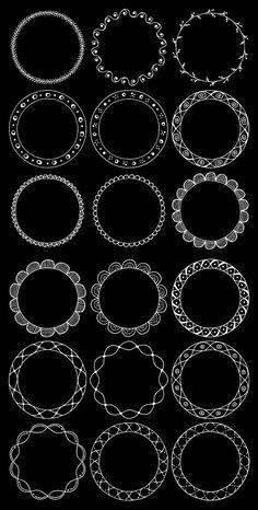 36 Hand Drawn Decorative Round Frames Circle by nubeDigitalPapers