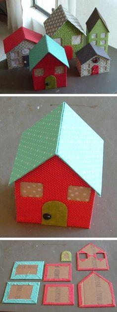 Divertidas casitas de cartón / Inspiration: build a big doll house; Diy Christmas Village, Christmas Villages, Christmas Diy, Christmas Houses, Diy Paper, Paper Crafting, Diy For Kids, Crafts For Kids, Diy Karton
