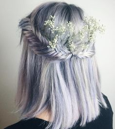 Pastel Lavender Half Updo With Fishtails Braids for short hair