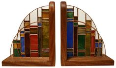 This pair of stained glass bookends commissioned by the colleagues of a librarian who was retiring from his post. From Mungo Works