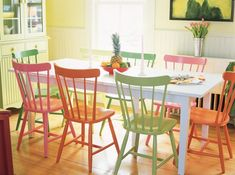 Lighten things up a bit with mismatched dining chairs! | Maine Cottage
