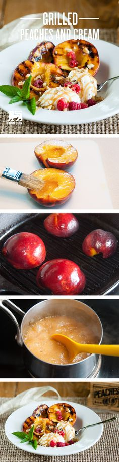 A light, fresh dessert that peach lovers will devour! The caramel sauce is a spectacular addition to this creamy, delicious dish. Fruit Recipes, Fall Recipes, Holiday Recipes, Dessert Recipes, Healthy Recipes, Delicious Fruit, Yummy Food, Grilled Peaches, Grilled Fruit