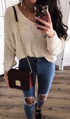amazing outfit idea / knit sweater + bag + rips + loafers