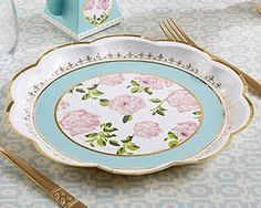Feminine and elegant, our Tea Time Whimsy Paper Plates are sure to be just the accent you need at your afternoon tea party! Sold in packs of 8, these aqua, white, pink, and gold paper turn your cookies and crumpets into a big part of your celebration. Perfect for everything from tea party birthday parties to high tea bridal showers and luncheons, our floral paper plates make your place settings even more beautiful! Features and facts: White cardstock paper plates with gold foil trimmed…
