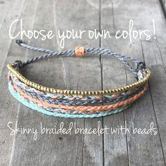 Items similar to 1 skinny braided string bracelet, wax string bracelet, beach jewlery, surfer bracel Diy Bracelets With String, Thread Bracelets, Braided Bracelets, Ankle Bracelets, Bracelets For Men, Handmade Bracelets, Friendship Bracelets, Diy Hemp Bracelets, Hemp Bracelet Patterns
