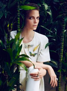 Nora Shopova by Emre Guven for Vogue Turkey May 2014 / Tropical jewelry