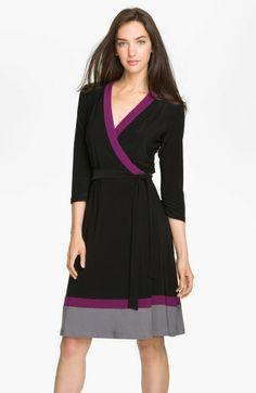 Alex & Ava Gray Colorblock Jersey Wrap Dress