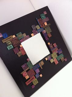 Mosaic mirror with polymer clay tiles by shellyski's creations, via Flickr