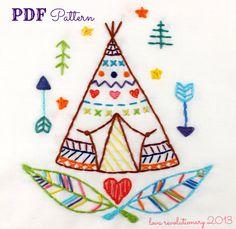 Teepee Western Indian Summer Camp Hand Embroidery von lovahandmade