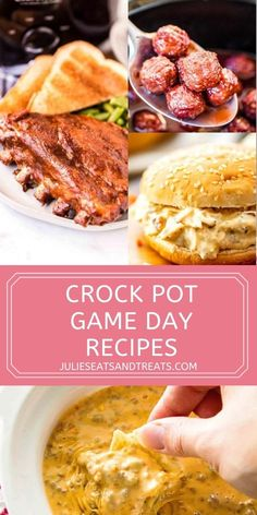 If you need an easy recipe for tailgating or watching the big game these crock pot recipes are what you need. Easy to prep ahead of time, stay warm during watching the game. They are stress free to make while entertaining and delicious. Plus, they are easy to take with you if you are going somewhere! #crockpot #recipes Best Crockpot Recipes, Fun Easy Recipes, Meat Recipes, Easy Meals, Cooking Recipes, Yummy Recipes, Pork And Beef Recipe, Game Day Food, Big Game