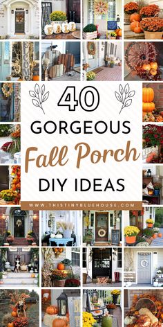 Glam up your front porch this autumn with one or a collection of these 40 gorgeous fall DIY porch decor ideas. These stunning porch ideas are guaranteed to make your porch stand out in your neighborhood. Diy Porch, Porch Ideas, Pumpkin Display, Diy Fall Wreath, Fall Wreaths, Deco Floral, Fall Projects, Diy Projects, Halloween Projects