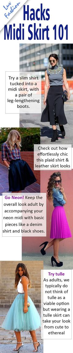 AMAZING Midi skirt outfit ideas to get the creative vibe going. Midi skirt outfits can sometimes be difficult to get looking just right. Click this infographic for more midi skirt outfit ideas #luvfashion #midiskirt #skirt #midiskirtoutfit #fashioninspiration #fashionistas #stylemadeeasy #styleinspiration #trendingnow #fashion2018