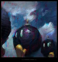 Recreation of Super Mario 64's Bomb Omb Battlefield in game painting - Ronan Lynam