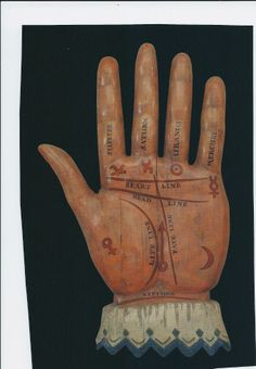 Antique fortune teller's sign (palm reader / palmistry) - 19th century