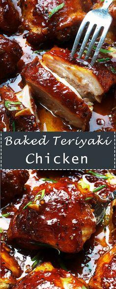 Le poulet Teriyaki au four - Art Design Chicken Thigh Teriyaki, Chicken Teriyaki Rezept, Soy Sauce Chicken, Baked Teriyaki Chicken Thighs Recipe, Garlic Sauce, Chicken Thights Recipes, Oven Chicken Recipes, Chicken, Baked Chicken