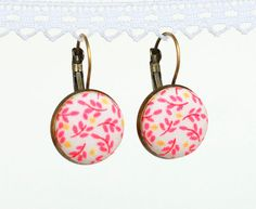 Pink Leverback Earrings  Pink Leaves  by PatchworkMillJewelry
