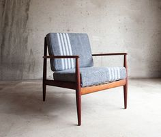 Hudson Bay Blanket Danish Chairs. I LOVE this pairing. Traditional wool stripe on clean lined chair.