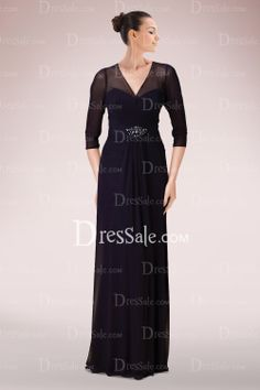 Graceful Chiffon Column Mother of Bride Dress Featuring Illusion Design and Beaded Accents