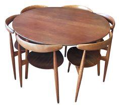 Hans Wegner Danish Modern Teak & Oak Dining Set- Set of 7 on Chairish.com