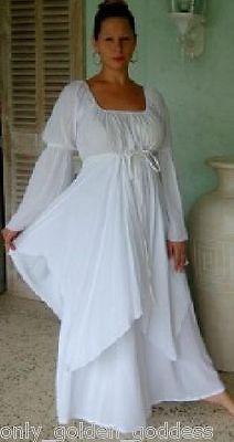 White Dress Peasant Layered Renaissance M L XL 1x 2X 3X 4X One Size Plus Size | eBay