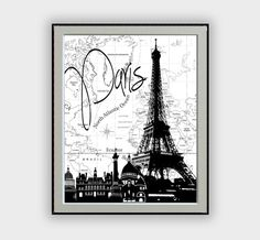 "Wall Decor Typographic Painting famous cities with world map background black and white ""Paris""  Eiffel Tower Digital Art Home Decor"