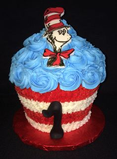 Make This Cute Cat In The Hat Smash Cake For Your Childs First Birthday Party