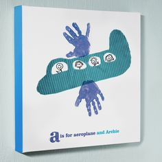 Personalised wall art canvas picture – aeroplane handprints