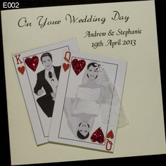 Clever handmade Wedding card. The leitmotif is 2 playing cards, where a married couple is presented. She was the queen, he as a king. Card were used for the production of high quality white paper with a weight of 250 gsm skin texture. http://www.handmadecards24.co.uk/product/queen_king_handmade_wedding_card