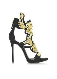 Giuseppe Zanotti Black Suede High Heel Sandal w/Crystal and Gold Leaf Filigree Detail-$2,250.00