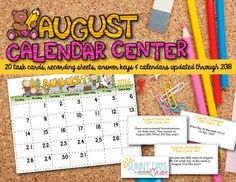 August Calendar Center Task Cards  - help your students interact with and deepen their understanding of the calendar.