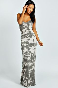 Boohoo Womens Ladies Candice Tye Dye Strappy Back Maxi Dress