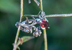 "Silver Natural Ruby Garnet Ring ""Rhiannon"". Garnet Jewelry, Engagement Garnet Ring, Flower Ring, Delicate Garnet Ring, Weeding Ring, Garnet by NellyRomanova on Etsy"