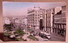 ANTIGUA FOTO POSTAL, Nº 100, LA CORUÑA, PLAZA DE PONTEVEDRA, GALICIA, ED. GARRABELLA, 14 x 9 CM