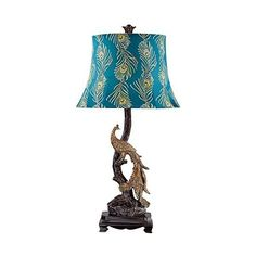 Exotic Plumage Peacock Table Lamp (140 CNY) ❤ liked on Polyvore featuring home, lighting, table lamps, peacock lamp, peacock table lamp and peacock lights