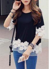 Black Half Sleeve Lace Splicing Blouse - USD $15.66