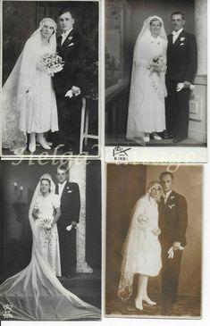 4 pcs.vintage BW,sepia wedding photo-postcards couples,brides,bridegroom 1930-40 Photo Postcards, Vintage Postcards, Vintage Photos, Brandon Vt, Horse Drawn Wagon, Long Beach California, Man Smoking, Family Events, Look Alike