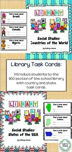 Library Task Cards for practicing search skills in the Elementary School Library $
