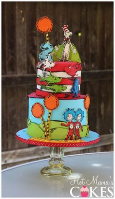 Dr Suess themed combo cake featuring different stories Dr Seuss Birthday Party, 2nd Birthday, Birthday Ideas, Birthday Cakes, Birthday Parties, Dr Suess Cakes, Dr Seuss Baby Shower, Dragon Cakes, Minnie Mouse