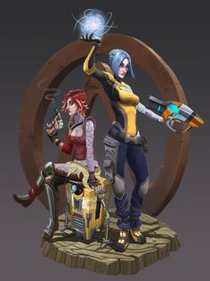 Borderlands Lilith, Maya and Claptrap, Dani Sepúlveda (Yizard) Krieg Borderlands, Lilith Borderlands, Borderlands Series, Tales From The Borderlands, Humanoid Creatures, Video Game Art, Video Games, Best Games, Overwatch