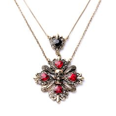 Retro Alloy Ruby Flowers Skull Necklace Thin Chain Layered Necklace Summer Jewelry Pendant Necklace
